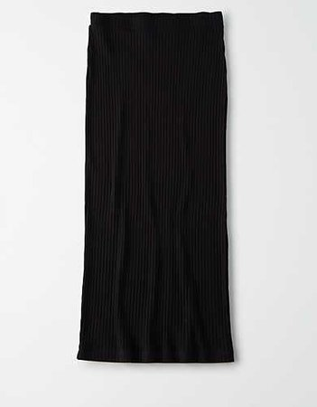 AE High-Waisted Knitted Midi Skirt black