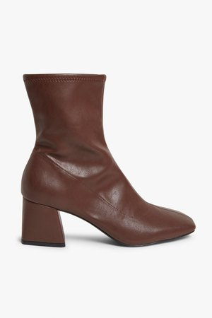 Square-toe ankle boots - Brown - High heels - Monki DK