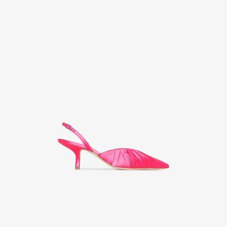 Pink 55 slingback satin pumps