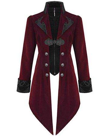 Devil Fashion Herren Jacke Mantel Rot Samt Gothic Steampunk Aristocrat Regency: Amazon.de: Bekleidung