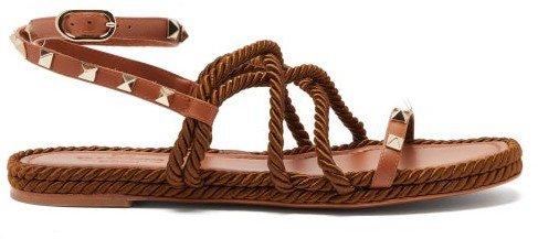 Torchon Rockstud Leather Sandals - Tan