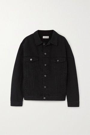 Black Oversized crystal-embellished denim jacket | Balenciaga | NET-A-PORTER