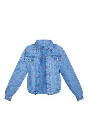 Mid Wash Drop Shoulder Oversized Denim Jacket   PrettyLittleThing