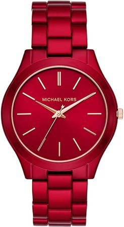 Amazon.com: Michael Kors Women's Slim Runway Quartz Watch with Stainless-Steel-Plated Strap, red, 20 (Model: MK3895): Watches
