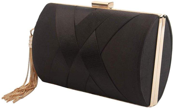 Women's Elegant Tassel Pendant Silk Evening Bag Clutch Purse for Bride Wedding Prom Night Out Party (BLACK): Handbags: Amazon.com