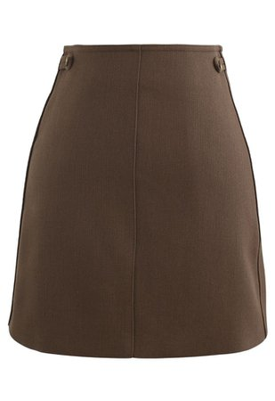 Double Buttons Bud Mini Skirt in Caramel - Retro, Indie and Unique Fashion