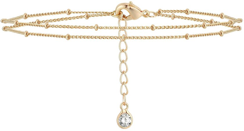 Amazon.com: Mevecco Gold Layered Dainty Bead Chain Bracelet for Women, 14K Gold Plated Cute Tiny Double Chain Layered Satellite Chain Bracelet for Women…: Clothing