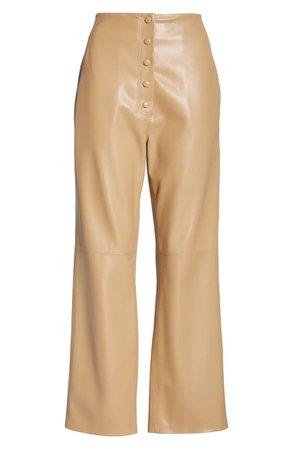 Nanushka Sora Faux Leather Crop Flare Pants | Nordstrom