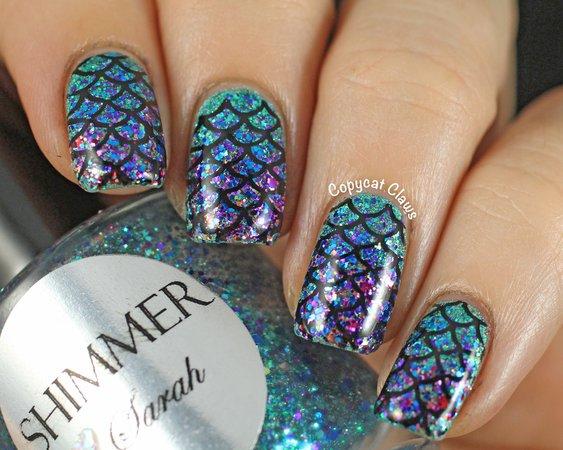 glitter mermaid nails