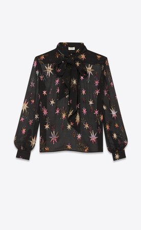 """Saint Laurent Mao Collar Blouse In Silk With """"multicolored Star Cutouts""""  