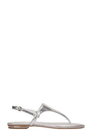 Michael Kors Silver Leather Enid Sandals