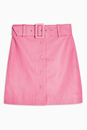 Pink Leather Mini Skirt | Topshop
