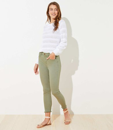 Green Frayed Jeans