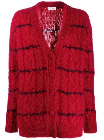Saint Laurent Striped Cable Knit Cardigan - Farfetch