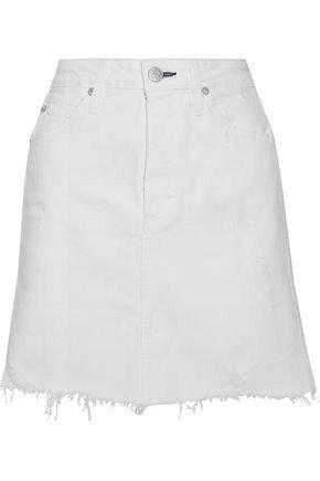 AMO Amo Woman Gemma Distressed Denim Mini Skirt White