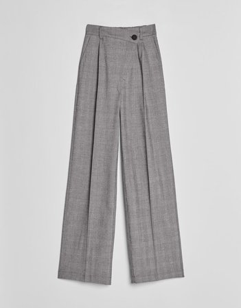 Wide-leg pants - Pants - Woman | Bershka Grey
