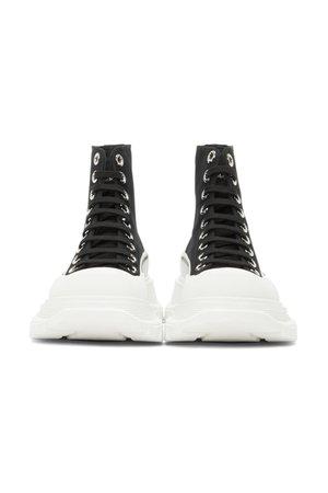 ALEXANDER MCQUEEN Black & White Tread Slick High Sneakers
