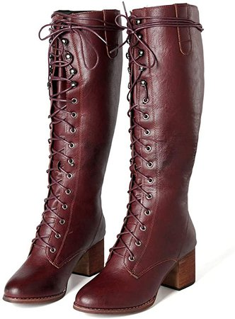 Amazon.com: Women's Lace up Knee High Boots Roman Rider Cowboy Chunky Heel Boot Leather Retro Riding Shoes: Clothing