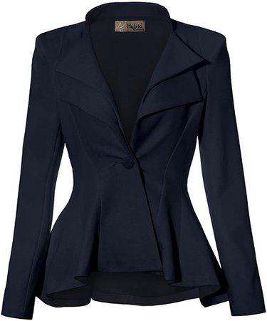 Women Double Notch Lapel Office Blazer JK43864 1073T Navy Large at Amazon Women's Clothing store
