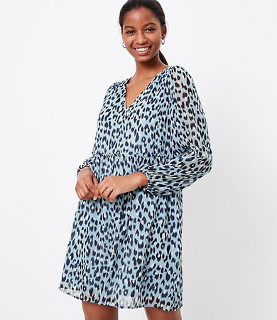Petite Leopard Print V-Neck Swing Dress