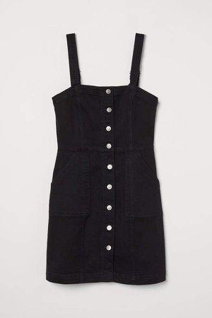 Denim Overall Dress - Black