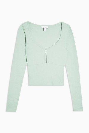 Mint Hook and Eye Long Sleeve Top | Topshop