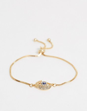 ASOS DESIGN bracelet with toggle chain and eye charm in gold tone | ASOS