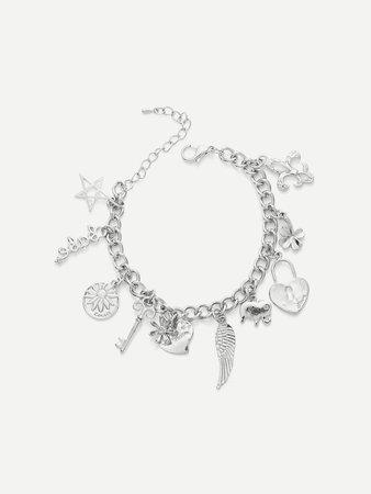 Star & Heart & Flower Charm Link Bracelet