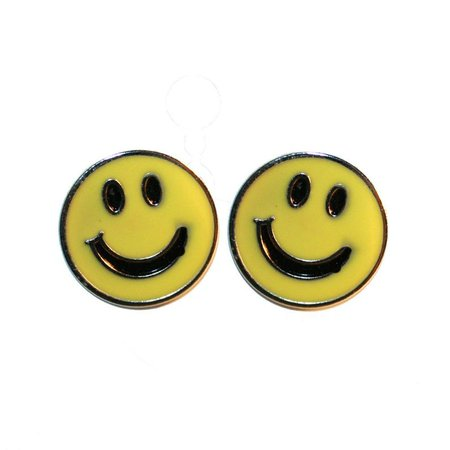 90s Yellow Happy Face Earrings- Smiley face Happy Face 1990s nostalgia smiley face happy face 90s grunge dead stock 90s vintage jewelry