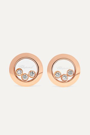Rose gold Happy Diamonds 18-karat rose gold diamond earrings   Chopard   NET-A-PORTER
