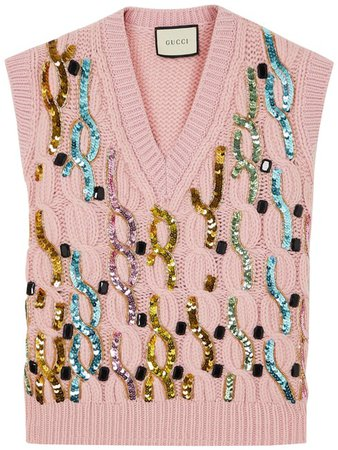 Gucci Pink Embellished Cable-knit Wool Vest Size 4 (S) - Tradesy