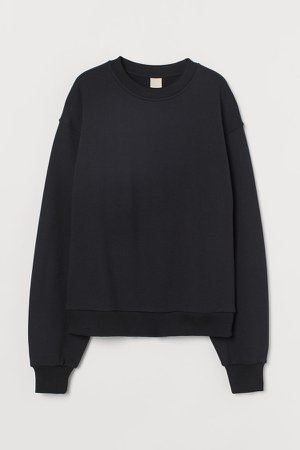 Relaxed Fit Sweatshirt - Black