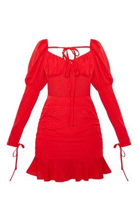 Red Tie Bust Frill Hem Bodycon Dress | PrettyLittleThing USA