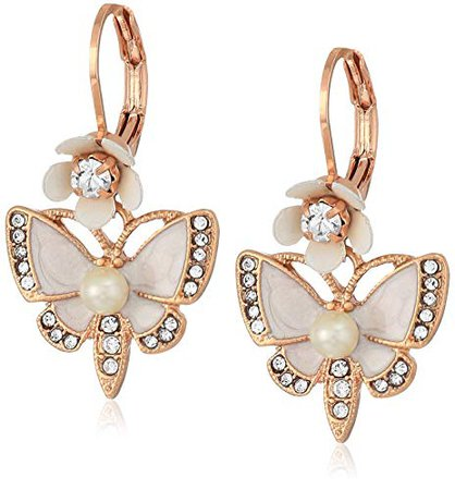 Betsey Johnson Rose Gold Butterfly Drop Earring, White, One Size: Jewelry