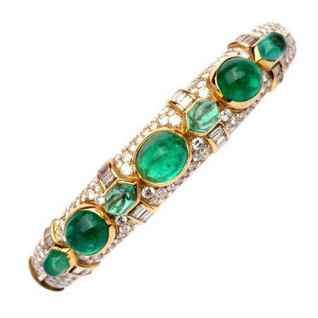 A Bulgari Emerald Diamond Bracelet For Sale at 1stdibs