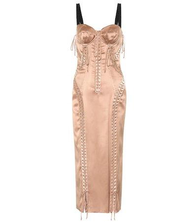Stretch silk midi dress