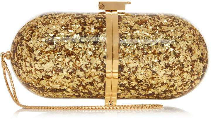 Marzook Pill Gold Leaf And Brass Clutch