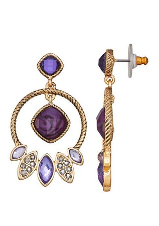 Napier Gold Tone Purple Orbital Post Earrings