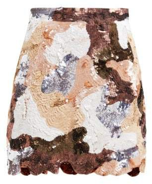 Patchwork Effect Sequinned Mini Skirt - Womens - Brown Multi