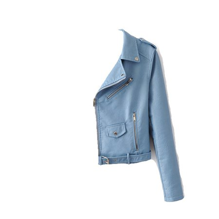 sky blue leather jacket