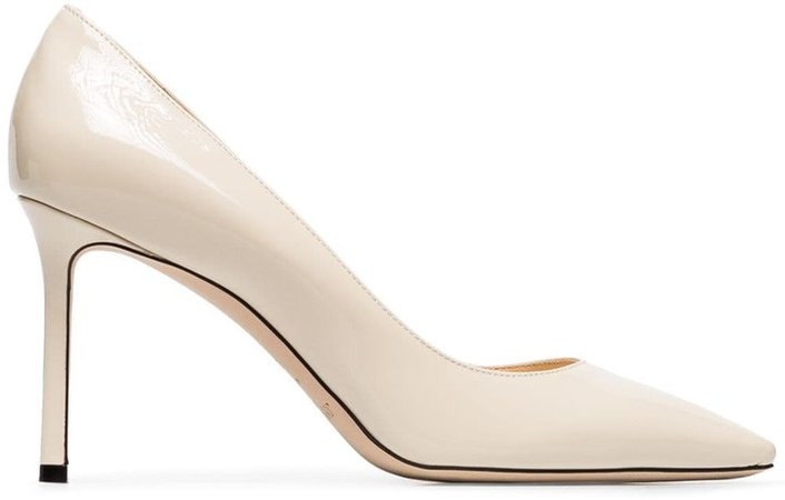 white Romy 85 patent pumps