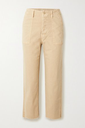 The Patch Pocket Cropped Distressed High-rise Straight-leg Jeans - Beige