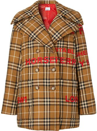Horseferry Print Check Down-filled Oversized Pea Coat