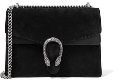 Dionysus Medium Suede And Leather Shoulder Bag - Black