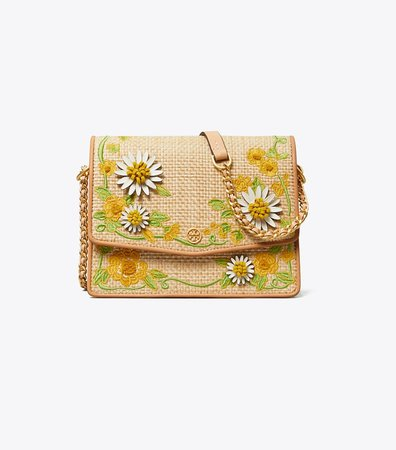 Robinson Embroidered Straw Convertible Shoulder Bag: Women's Handbags   Shoulder Bags   Tory Burch