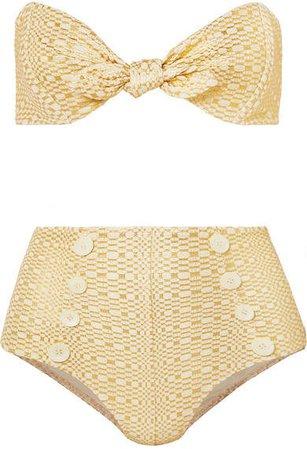 Poppy Knotted Metallic Seersucker Bikini - Cream