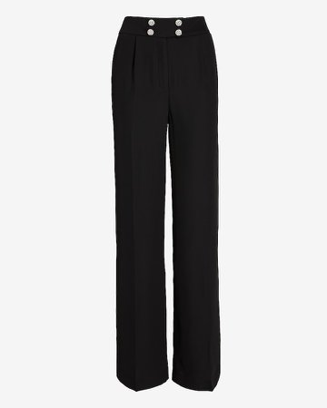 Super High Waisted Crystal Button Wide Leg Pant