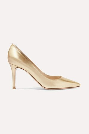 85 Metallic Leather Pumps - Gold