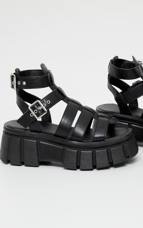 Black Chunky Sole Gladiator Sandals   Shoes   PrettyLittleThing USA black