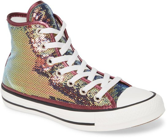Chuck Taylor(R) All Star(R) Sequin High Top Sneaker